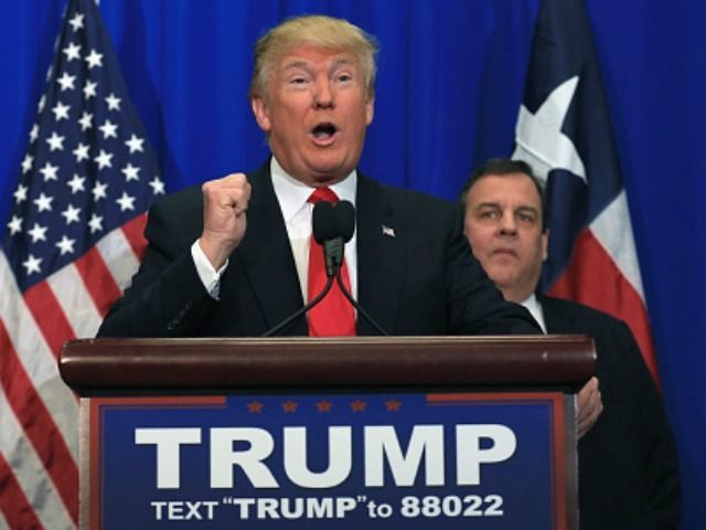 Republican presidential candidate Donald Trump announces that New Jersey Governor Chris Christie officially supports the Trump campaign during a rally at the Fort Worth Convention Center on February 26, 2016 in Fort Worth, Texas.