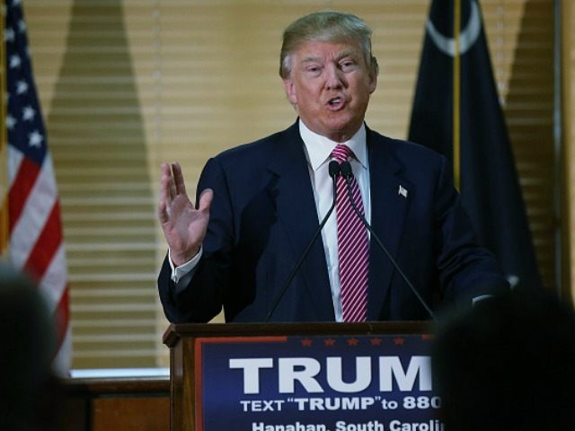 Republican Presidential candidate Donald Trump speaks at a news conference on February 15, 2016 in Hanahan, South Carolina.