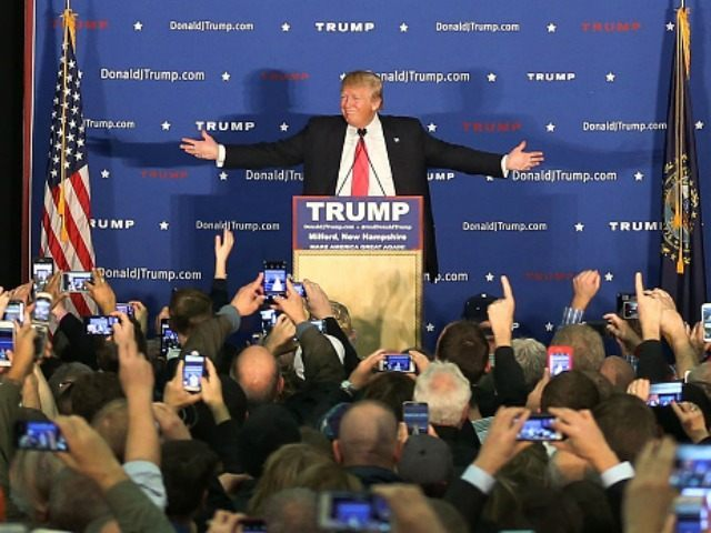 MILFORD, NH - FEBRUARY 02: Republican Presidential candidate Donald Trump speaks during a campaign event at Hampshire Hills Athletic Club on February 2, 2016 in Milford, Iowa.