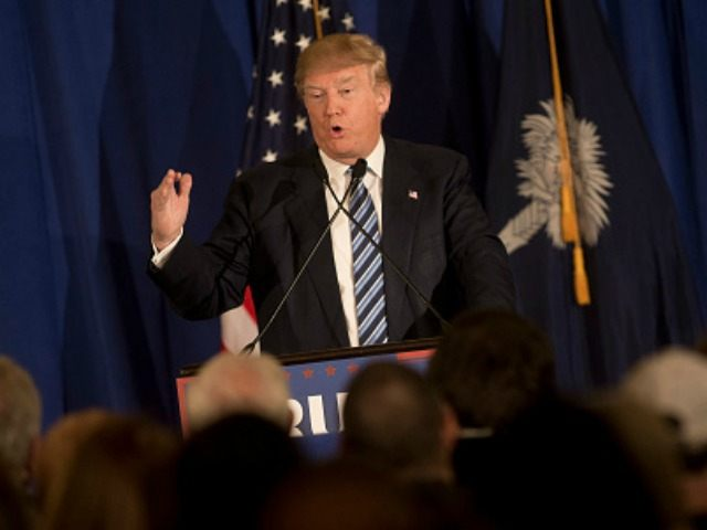 Republican presidential candidate Donald Trump speaks at a rally February 18, 2016 in Kiawah Island, South Carolina.