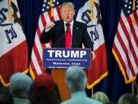 Republican Presidential Candidate Donald Trump speaks during a campaign rally in Waterloo, Iowa, USA on February 1, 2016. Today the citizens of Iowa cast the first official ballots in the 2016 race for the Presidency.
