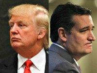 Trump and Cruz in three quarter profile AP Photos