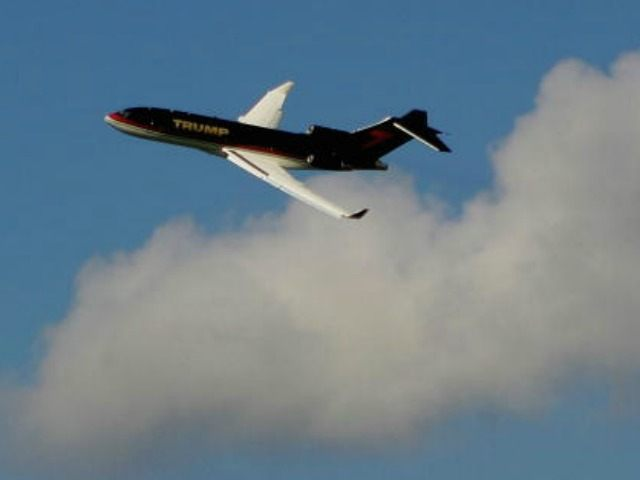 The Trump Organization jet passes over the golf course prior to the start of the ADT Championship at Trump International Golf Club on November 15, 2006 in West Palm Beach, Florida.