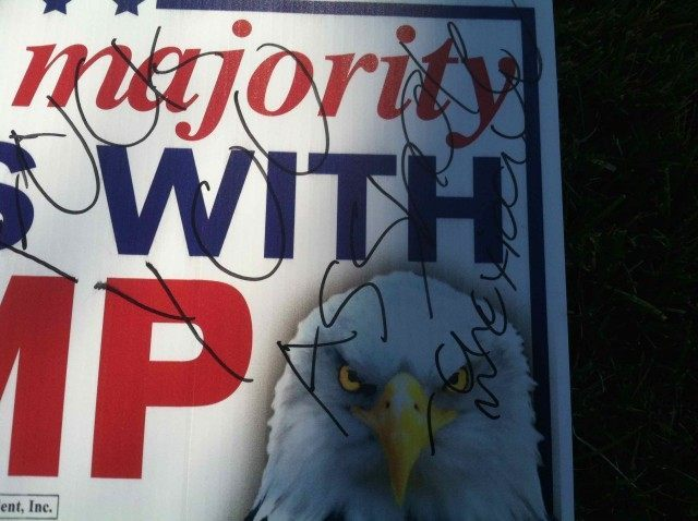 Trump sign defaced (Kerri Youngdale)
