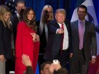 Donald Trump gestures to his supporters after finishing second in the Iowa Caucus, in West Des Moines, Iowa, February 1, 2016. Republican Senator Ted Cruz has won the Iowa caucuses -- the first vote in the US presidential race -- in a tight contest with frontrunner Donald Trump and Senator …