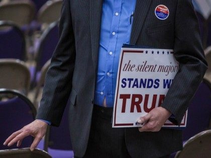 WATERLOO, IA - FEBRUARY 1: An audience member carries a sign following a campaign rally with Republican presidential candidate Donald Trump at the Ramada Waterloo Hotel and Convention Center on February 1, 2016 in Waterloo, Iowa.