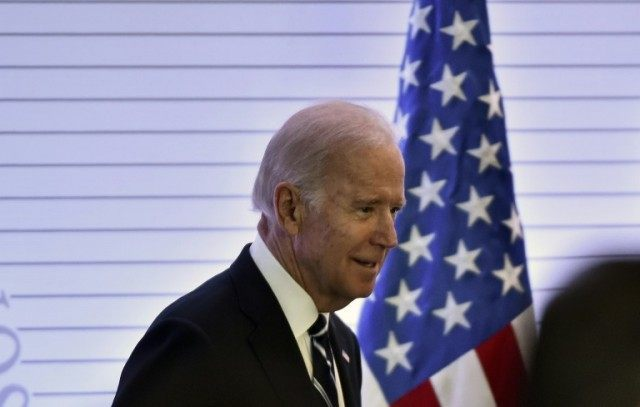 US Vice President Joe Biden arrives for a meeting at the Foreign Ministry in Mexico City on February 25, 2016