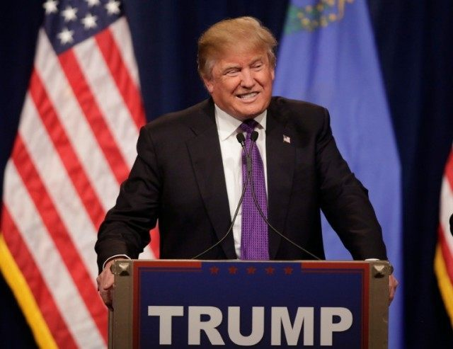 Republican presidential candidate Donald Trump declares victory, winning Nevada's First in the West presidential caucus at the Treasure Hotel & Casino in Las Vegas on February 23, 2016