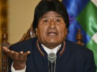 Bolivian President Evo Morales Ayma answers questions from the press at Quemado palace in La Paz on February 24, 2016