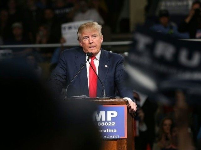 Republican presidential candidate Donald Trump speaks on February 17, 2016 in Sumter, South Carolina
