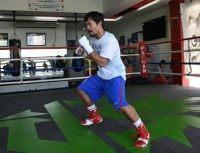 Philippine boxing icon Manny Pacquiao, seen during a training session in General Santos, on the southern island of Mindanao, on February 15, 2016