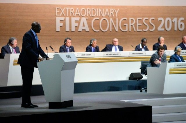 Constant Omari, member of the FIFA Executive Committee, speaks during the FIFA electoral congress on February 26, 2016 in Zurich
