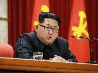 North Korean leader Kim Jong-Un delivering a speech at a national awards ceremony for nuclear scientists