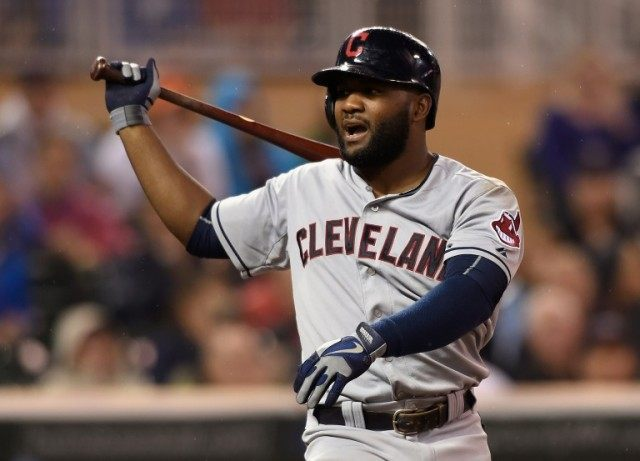 Abraham Almonte #35 of the Cleveland Indians reacts during a game against the Minnesota Twins on September 23, 2015 in Minneapolis, Minnesota