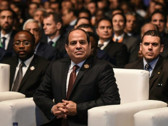 Egypt's President Abdel Fattah al-Sisi attends the Africa 2016 forum on February 20, 2016, in the Red Sea resort of Sharm el-Sheikh