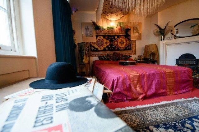 The bedroom of US musician Jimi Hendrix is recreated to promote a forthcoming exhibition, in London on February 8, 2016