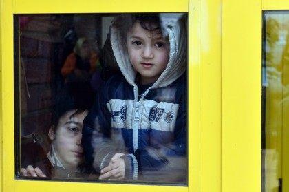 Migrant children at the Greek port of Piraeus on February 10, 2016