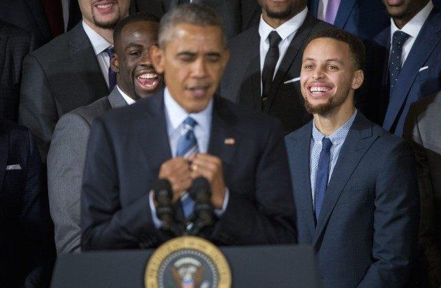 Barack Obama, Stephen Curry, Draymond Green