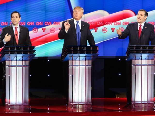 Republican presidential candidates, Sen. Marco Rubio (R-FL), Donald Trump and Sen. Ted Cruz (R-TX) listen as answers a question during the Republican presidential debate at the Moores School of Music at the University of Houston on February 25, 2016 in Houston, Texas.
