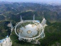 PINGTANG, CHINA - NOVEMBER 26: (CHINA OUT) The feed supporting system of the five-hundred-metre Aperture Spherical Radio Telescope (FAST) is under test on November 26, 2015 in Pingtang County, China. The construction will be completed in September 2016. (Photo by ChinaFotoPress/ChinaFotoPress via Getty Images)