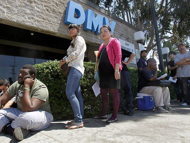 The line outside the DMV office in South Los Angeles is long on Tuesday, Aug. 14, 2012. The California Department of Motor Vehicles experienced a statewide computer outage Tuesday morning, disrupting many in–office services to customers. (Photo by Luis Sinco/Los Angeles Times via Getty Images)