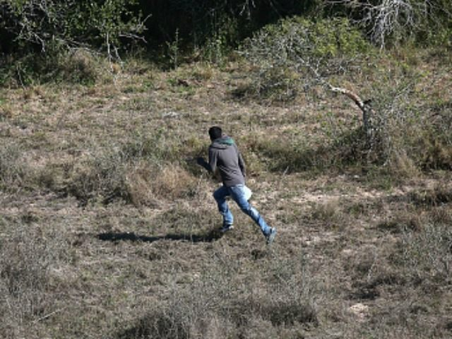 An undocumented immigrant runs from U.S. Border Patrol agents on December 9, 2015 near McAllen, Texas.