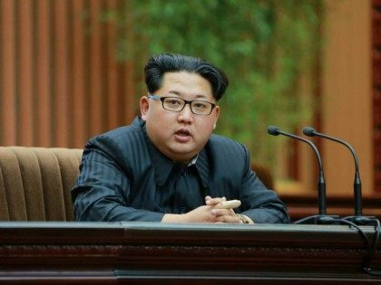 DEMOCRATIC PEOPLE'S REPUBLIC OF KOREA, Pyongyang : This photo taken on February 17, 2016 and released by North Korea's official Korean Central News Agency (KCNA) on February 19, 2016 shows North Korean leader Kim Jong-un (C) giving a speech at an awards ceremony for scientists who contributed to the launch …