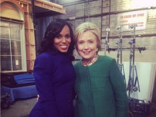 Kerry Washington and Hillary Clinton on set of Scandal