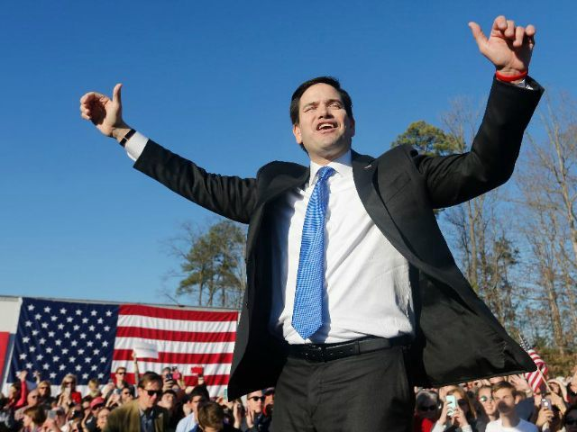 Republican presidential candidate, Sen. Marco Rubio, R-Fl., gestures during a rally in Richmond, Va., Sunday, Feb. 28, 2016. (AP Photo/Steve Helber)