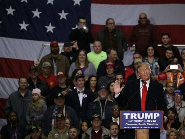 Republican presidential candidate Donald Trump speaks during a campaign rally February 10, 2016 in Clemson, South Carolina.