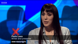 "Trans campaigner Paris Lees told Tatchell on BBC Newsnight that hearing from transphobes such as feminist Germaine Greer would be ""enough to tip [her' over the edge"""