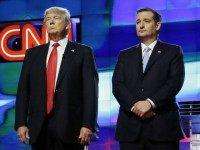Republican presidential candidates, Sen. Marco Rubio, R-Fla., left, Donald Trump, Sen. Ted Cruz, R-Texas, and Ohio Gov. John Kasich, right, stand together before the start of the Republican presidential debate sponsored by CNN, Salem Media Group and the Washington Times at the University of Miami, Thursday, March 10, 2016, in …