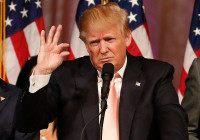 Republican presidential candidate Donald Trump addresses a press conference following his victory in the Florida state primary on March 15, 2016 in West Palm Beach, Florida. The win in Florida for Trump sent rival Marco Rubio, the US senator from the Sunshine State, crashing out of the campaign. The 69-year-old …