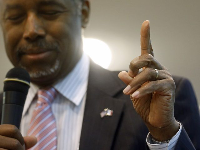 Republican presidential candidate Dr. Ben Carson gestures while speaking during a town hall at Abundant Life Ministries in Jefferson, Iowa, Monday, Jan. 11, 2016. (AP Photo/Patrick Semansky)