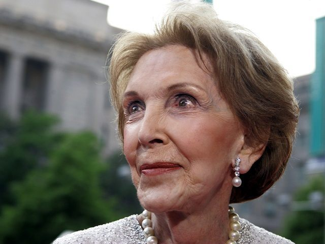 Former first lady Nancy Reagan arrives at Ronald Reagan building, Wednesday, May 11, 2005, in Washington. Mrs. Reagan made her first big public event Wednesday, since her husband's state funeral, in the building named after her husband. (AP Photo/Manuel Balce Ceneta)