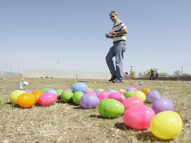 Volunteer Loren Wagner, of Phoenix, sets out eggs prior to the start of  an Easter egg hunt at the 11th Annual Egg Hunt and Festival Saturday, April 3, 2010, in Laveen, Ariz. (AP Photo/Ross D. Franklin)
