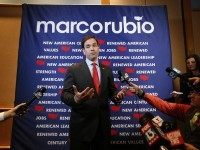 Republican presidential candidate, Sen. Marco Rubio, R-Fla., speaks to the media before a campaign rally in Tampa, Fla., Monday, March 7, 2016. (AP Photo/Paul Sancya)