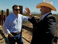 Arizona House Speaker David Gowan, right, speaks with Republican presidential candidate Sen. Ted Cruz, R-Texas, during a visit to the Arizona south border with Mexico in Douglas, Ariz., Friday, March 18, 2016.