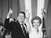 "President Ronald and first lady Nancy Reagan give farewell waves following a fundraiser for the Campaign Fund for Republican Women, Feb. 15, 1984 in Washington. Speaking on what would have been the 164th birthday of suffragist Susan B. Anthony, Reagan told the group ""We can be proud that, as women …"