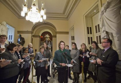 House Minority Leader Nancy Pelosi of Calif., center, with, from left, Rep. Jan Schakowsky, D-Ill., Rep. Diana DeGette, D-Colo., Rep. Bonnie Watson Coleman, D-N.J., Rep. Jerrold Nadler, D-N.Y., and Rep. Suzan DelBene, D-Wash., speaks to members of the media, on Capitol Hill in Washington, Tuesday, Dec. 1, 2015, regarding the …