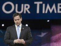 Republican presidential candidate, Sen. Marco Rubio, R-Fla. pauses while addressing the American Conservative Union's Conservative Political Action Conference (CPAC) in National Harbor, Md., Saturday, March 5, 2016. (AP Photo/Cliff Owen)