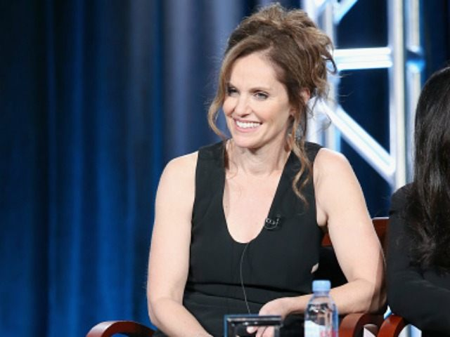 Executive producer Amy Brenneman speaks onstage during the 'Heartbeat' panel discussion at the NBCUniversal portion of the 2015 Winter TCA Tour at Langham Hotel on January 13, 2016 in Pasadena, California.