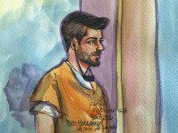 Aws Mohammed Younis al-Jayab is shown in this courtroom sketch appearing in federal court in Sacramento, California January 8, 2016. REUTERS/VICKI BEHRINGER