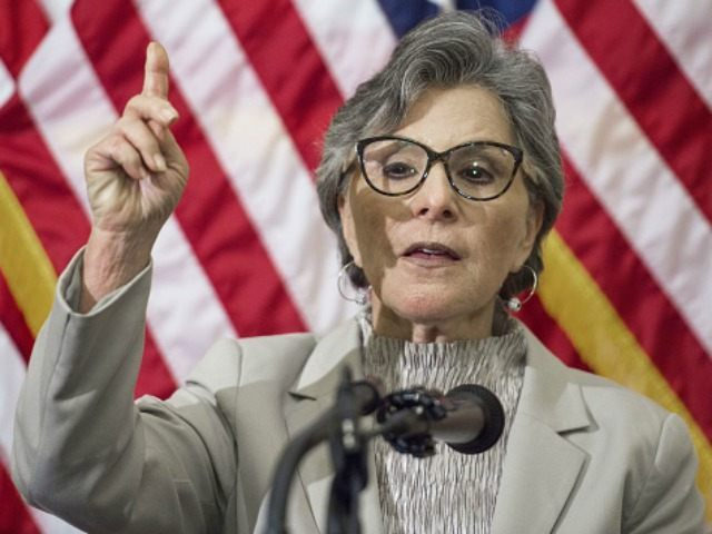 Barbara Boxer,D-CA, delivers remarks August 5, 2015 on Capitol Hill in Washington, DC.