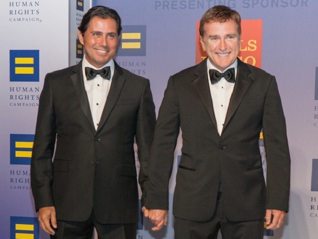 WASHINGTON, DC - OCTOBER 03:  United States Ambassador to the Dominican Republic James 'Wally' Brewster and husband Bob Satawake attend the 19th Annual HRC National Dinner at Walter E. Washington Convention Center on October 3, 2015 in Washington, DC.  (Photo by Teresa Kroeger/FilmMagic)