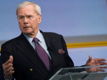 Host Tom Brokaw speaks during the Characters Unite National Town Hall at the NEWSEUM on December 2, 2009 in Washington, DC