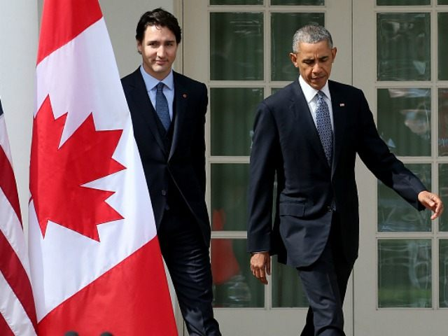 U.S. President Barack Obama and Canadian Prime Minister Justin Trudeau walk from the Oval Office to a joint press conference in the Rose Garden at the White House, March 10, 2016 in Washington, DC.