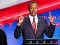 Ben Carson speaks during the Republican presidential debate at the Moores School of Music at the University of Houston on February 25, 2016 in Houston, Texas.