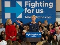 Presidential Candidate Hillary Clinton (L) is introduced by President of the Planned Parenthood Federation of America Cecile Richards at a campaign rally in North Liberty, Iowa, January 23, 2016