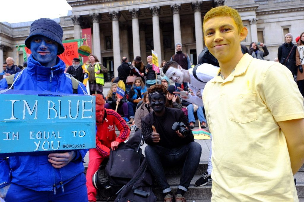 Blacking up at an anti-racism rally? (Rachel Megawhat/Breitbart London)